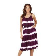 Ladies, Pistachio, Tie Dye Striped Pleat Overlay Short Dress, Purple Stripes