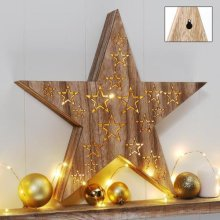 Wooden Star LED Light | Battery-Operated Christmas Star Light