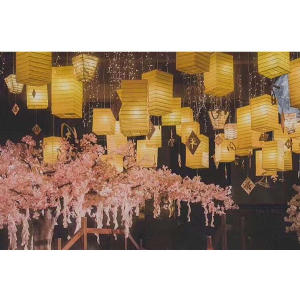 [Yellow] Square Chinese/Japanese Style Hanging lantern Craft Paper  Decoration