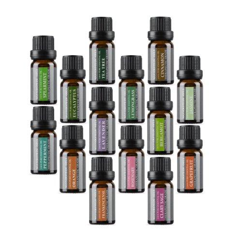 Aromatherapy 100% Pure Basic Essential Oil Set by Wasserstein (Lavender, Tea Tree, Eucalyptus, Lemongrass, Rosemary, Frankincense, Orange,...