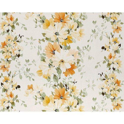EDEM 907-02 floral wallpaper non-woven fabric look white yellow orange 10.65 sqm