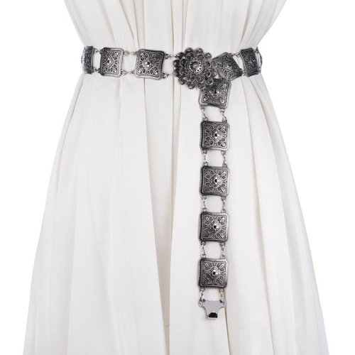 2017 Fashion personality belt for women High quality metal flower string waist chain ceinture femme on dress belts female
