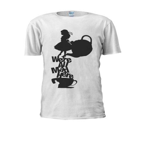 Alice in Wonderland Tea All Mad Here Men Women Unisex Top T Shirt