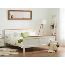 Double White Wooden Bed 140 x 200 cm OLIVET