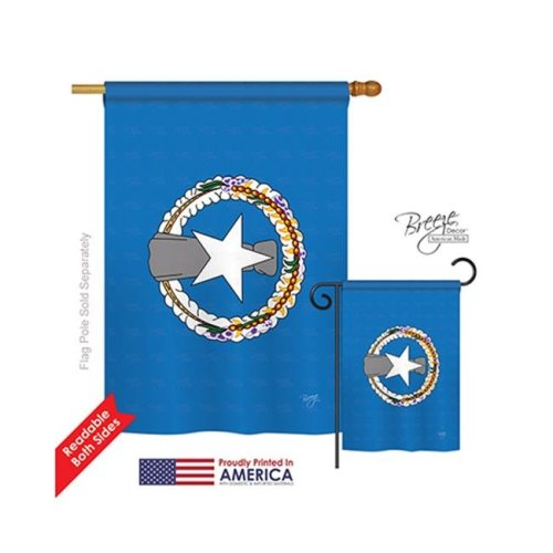 Breeze Decor 08354 Northern Marianas 2-Sided Vertical Impression House Flag - 28 x 40 in.