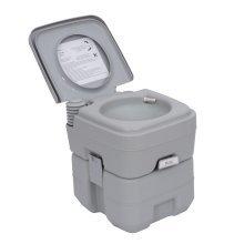 Homcom Portable Travel Mobile Toilet Outdoor Camping Handle Wc Grey