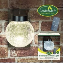 GardenKraft Solar Sensor Glass Wall Light with Remote Control