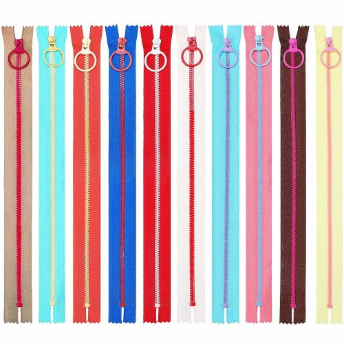 20 Pieces Plastic Resin Zippers with Lifting Ring Quoit Colorful Zipper for Tailor Sewing Crafts Bag Garment (16 Inch)