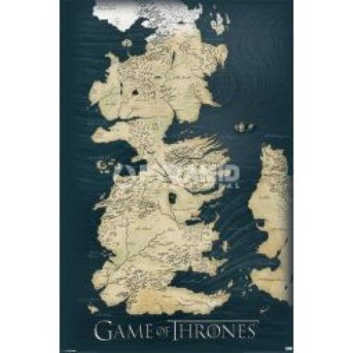 91.5cm x 61cm Games Of Thrones Map Maxi Poster - Game 210 Official New Westeros -  game thrones poster map 210 official new westeros licensed product