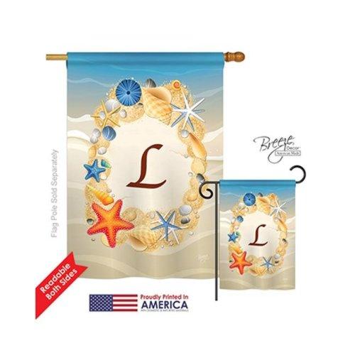 Breeze Decor 30168 Summer L Monogram 2-Sided Vertical Impression House Flag - 28 x 40 in.