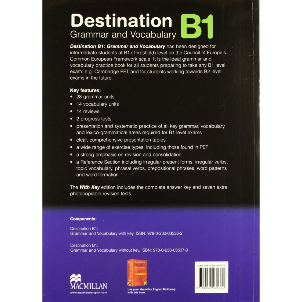 Destination Grammar B1: Student's Book Without Key