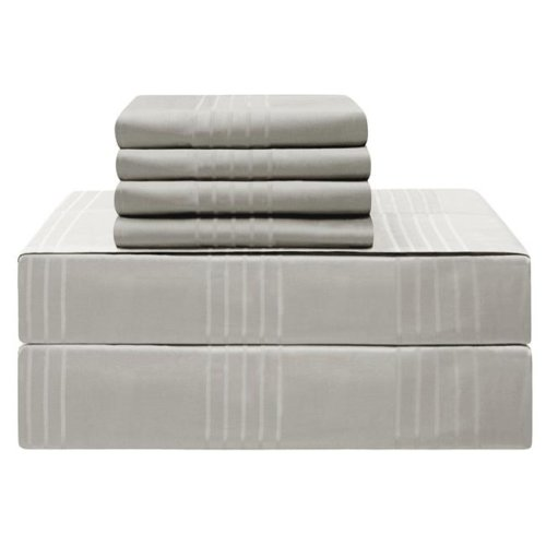 Jean Pierre YMS008232 Premium 420 Thread Count 100 Percent Cotton Sheet Set, Silver - California King - 6 Piece