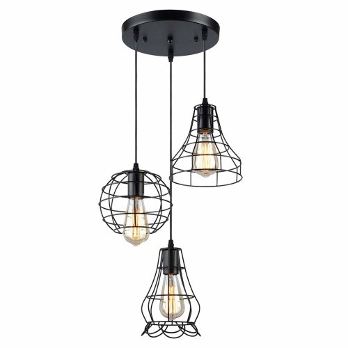 KOONTING Rustic Industial 3-Light Multi-Pendant Light,Metal Cage Chandelier for Dining Room, Adjustable Wire, Black Painted Finish.