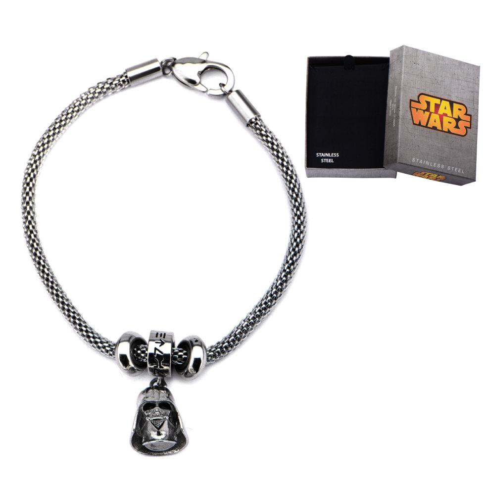 d744b34897376 Stainless Steel Star Wars Darth Vader Charm Mesh Bracelet: Medium (7.5  Inches)