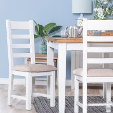 Chester White Painted Oak Slat Back Dining Chair With Fabric Seat