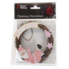 Baby's My 1st Christmas 12cm Rattan Wreath Tree Decoration - Pink - Blue New -  christmas wreath 1st blue my decoration pink new pms snow white baby