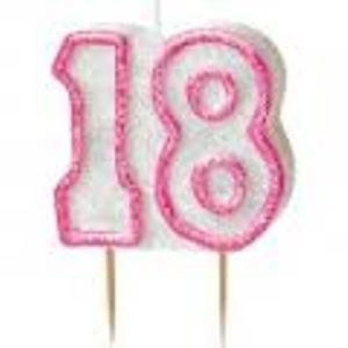 Age 18 Birthday Candle Pink Glitz