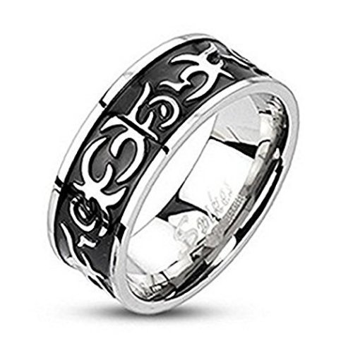 Black and Silver Casted Stainless Steel Band Ring 8mm Width