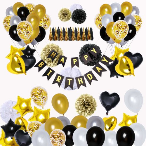 BRT Black And Gold Party Decorations90Pcs Happy Birthday Banner Star Heart Foil Balloons 18th 20th 30th 40th 50th 60th 70th Decorations On