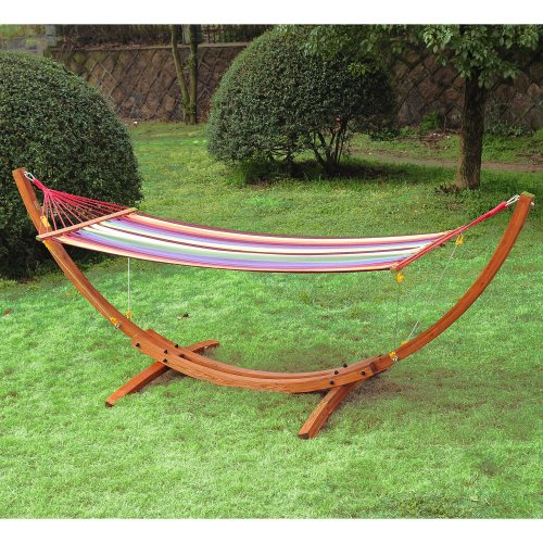 Outsunny | Wooden Frame Hammock Arc Stand
