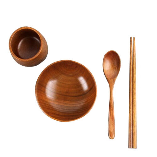 Japanese Wooden Tableware Set Wooden Bowl for Kids and  Adults#02