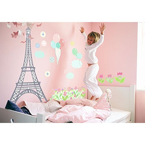 Oopsy Daisy Eiffel Tower Afternoon Peel and Place Graypinkmulti 54 x 45