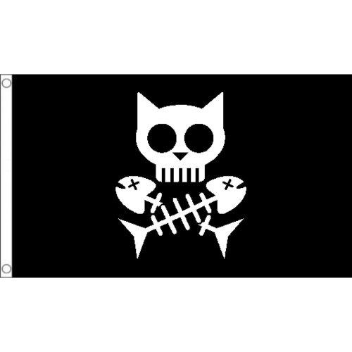 Cat pirate  logo Flag  Size: 5 x 3 FT ( 150cm x 90cm)