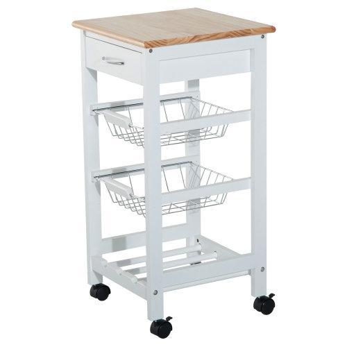 Homcom 2-Tier Kitchen Trolley Serving Cart Storage Basket Drawer w/ Wheels Brakes - White