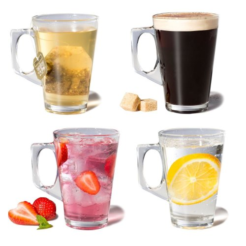 Set of 4 Drinking Glasses for Coffee & Tea