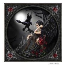 Lisa Parker Dark Angel & Black Raven Blank Square Greeting Card Birthday Christmas Pagan Wiccan Fantasy Gift