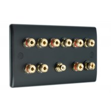Matt Black Slimline 5.1 Speaker Wall Plate 10 Terminals + RCA Phono Socket - No Soldering Required