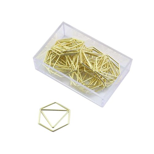 25pk Gold-Tone Hexagon Paper Clips | Hexagon Paper Clips