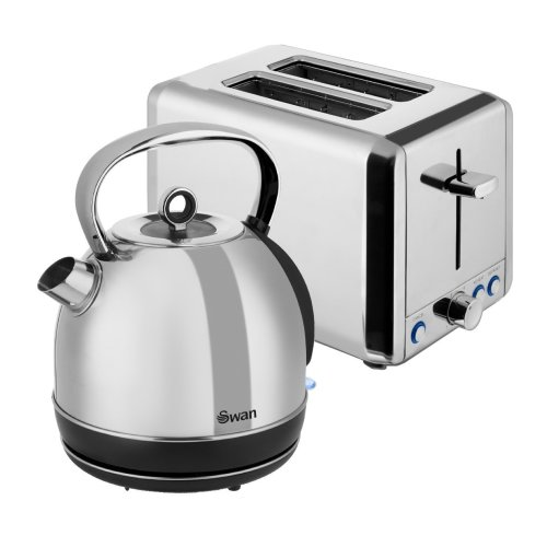 Set of 2 Swan Kitchen Appliance Polished SS 2 Slice Toaster & 1.7L DOME Kettle