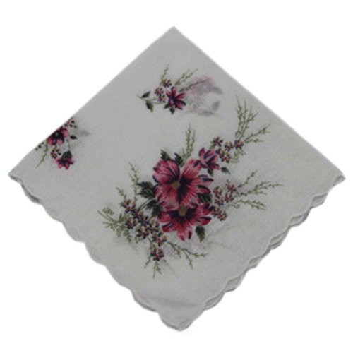 3 Pcs Retro Floral Print Handkerchiefs Ladies Cotton Pocket Handkerchief, #21
