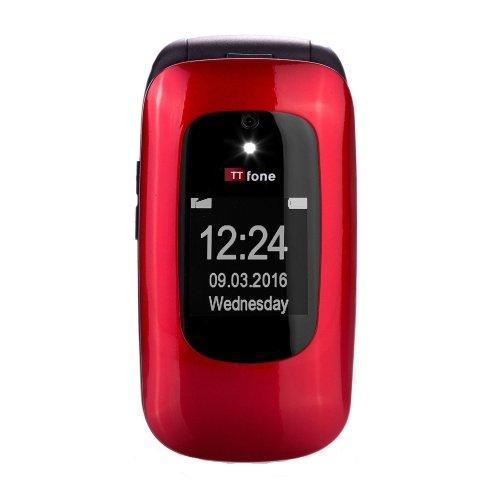 TTfone Lunar TT750 Big Button Clamshell Unlocked Flip Mobile Phone - Red