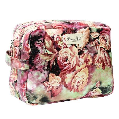 Primrose Hill 492328U Floral Double Beauty Clutch Bag Zipped Pockets Large