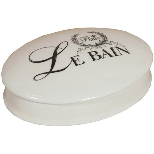 "White Porcelain ""le Bain Paris"" Decorated  W15.5xdp11.5xh4.5 Cm Sized Container With Lid"