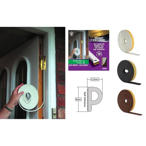 Stormguard EPDM P Profile Draught Excluder - Self Adhesive Rubber Weather Strip