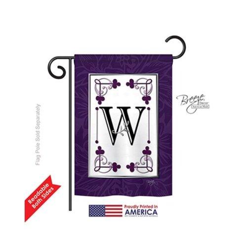 Breeze Decor 80023 Classic W Monogram 2-Sided Impression Garden Flag - 13 x 18.5 in.