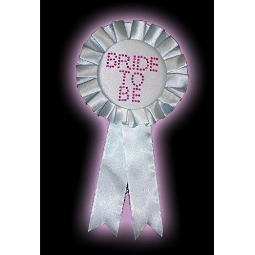 Alandra Bride To Be Rosette With Stones - White - Hen Night Party Badge -  bride rosette white hen night party badge diamante fancy dress whiteblack