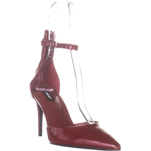 DKNY Lace Ankle Strap Pumps, Red Patent, 5.5 UK