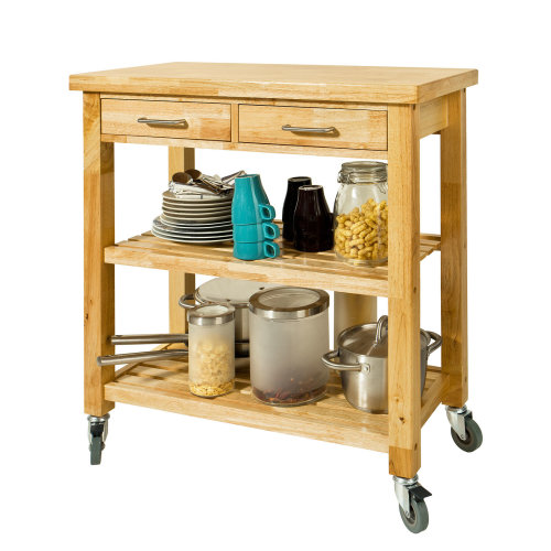 SoBuy® FKW24-N, Rubber Wood Kitchen Storage Trolley 2 Drawers 2 Shelves