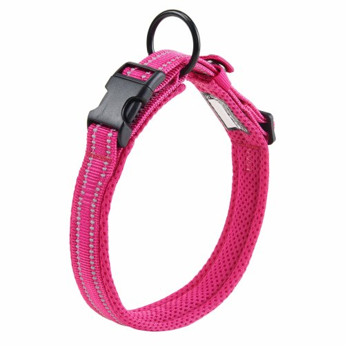 Kaka mall Pet Safety Collar Padded Mesh Soft 3M Reflective Adjustable Breathable for Extra Large Dogs (XL, Rose Red/ Pink)