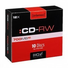 Intenso CD-RW, 700MB/80 Minutes, 12x Speed, Re-Writable Disks, Slim Case 10 Pack