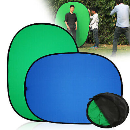 Green/Blue 2-in-1 Background Panel Popup Backdrop Reversible Collapsible Screen
