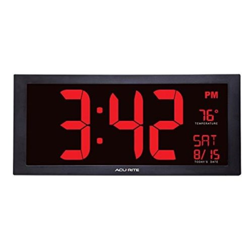 Chaney Instruments 75100MA1 AcuRite Oversized LED Digital Clock with Indoor Temperature, 18 in.