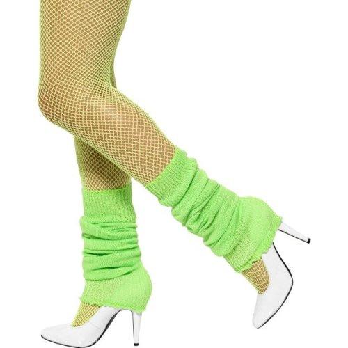 Neon Green Legwarmers -  neon green leg warmers legwarmers fancy dress 80s smiffys ladies accessory 1980s
