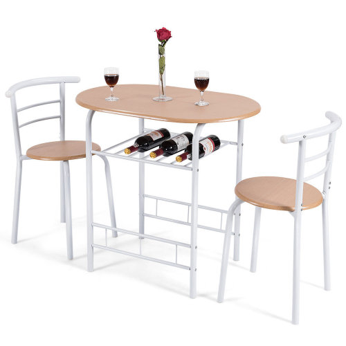 Compact Breakfast Dining Table Set Bar Table 2 Chair