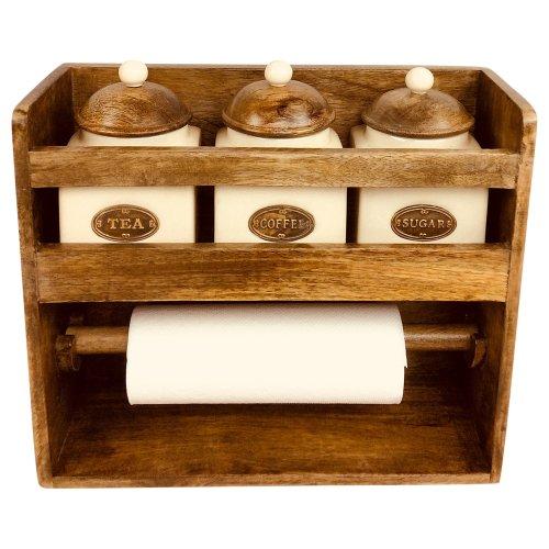 Kitchen Roll Holder Rack With 3 Jars Ceramic Tea Coffee Sugar Storage