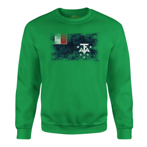 Candymix - French Southern And Antarctic Lands Distressed Flag - Unisex Adult Sweatshirt, Size Medium, Colour Irish Green